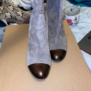 Knee high grey tap toe and heel style